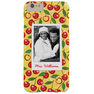 Cute Cherry Pattern | Monogram Barely There iPhone 6 Plus Case