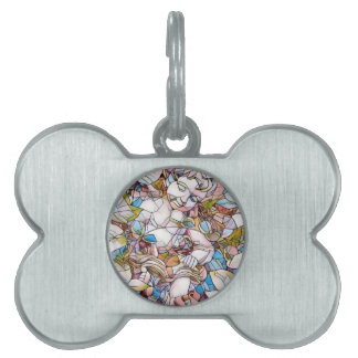 Cute Cherub in Garden Stained Glass Pet ID Tag