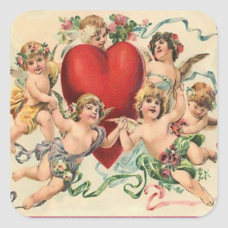 Cute Cherubs with a Red Heart Valentine Square Stickers