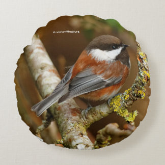 Cute Chestnut-Backed Chickadee on the Pear Tree Round Pillow