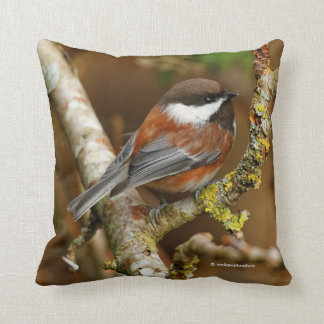 Cute Chestnut-Backed Chickadee on the Pear Tree Throw Pillow