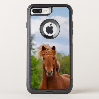 Cute chestnut Icelandic Pony Head Front Photo Isi OtterBox Commuter iPhone 8 Plus/7 Plus Case