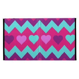 Cute Chevron Hearts Pink Teal Teen Girl Gifts iPad Folio Case