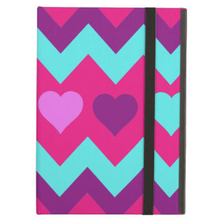 Cute Chevron Hearts Pink Teal Teen Girl Gifts Case For iPad Air