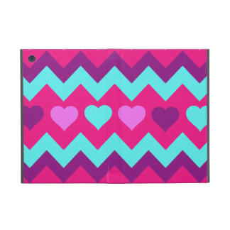 Cute Chevron Hearts Pink Teal Teen Girl Gifts Covers For iPad Mini