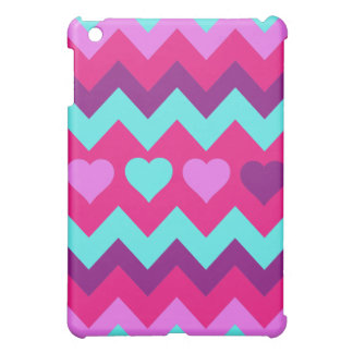 Cute Chevron Hearts Pink Teal Teen Girl Gifts Cover For The iPad Mini