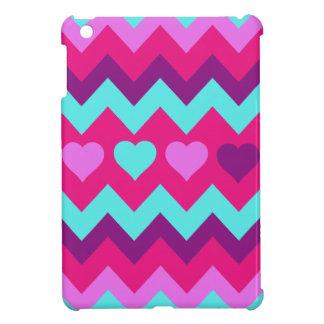 Cute Chevron Hearts Pink Teal Teen Girl Gifts iPad Mini Covers