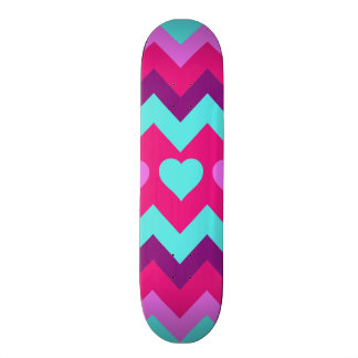 Cute Chevron Hearts Pink Teal Teen Girl Gifts Skate Board Deck
