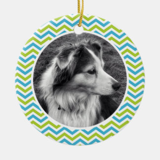 Cute Chevron Stripes Photo and Personalized Text Round Ceramic Ornament
