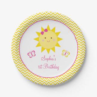 Cute Chevron Sunshine Birthday Paper Plate