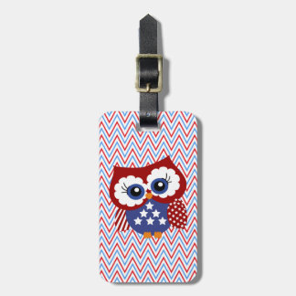 Cute Chevron Zigzag and Patriotic Owl Luggage Tag