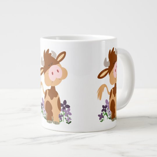 Cute Chewing Cartoon Cow Large Coffee Mug