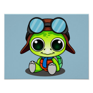 Cute Chibi Aviator Turtle Poster