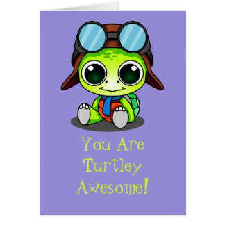 Cute Chibi Cartoon Turtley Awesome Card