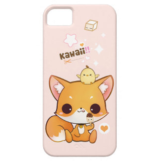 Cute chibi fox with kawaii chick and icecream iPhone 5 cases