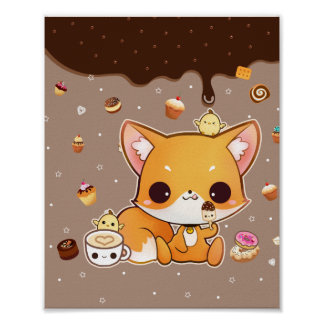 Cute chibi fox with kawaii icecream poster
