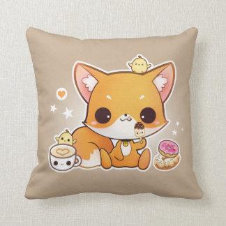 Cute chibi fox with kawaii icecream throw pillow