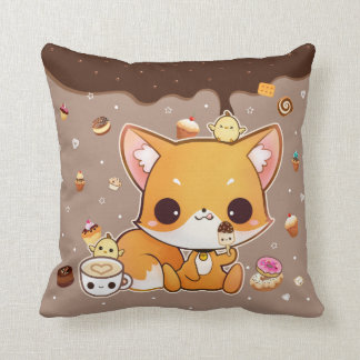 Cute chibi fox with kawaii icecream throw pillow