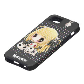 Cute chibi girl and kawaii skulls iPhone 5 cases