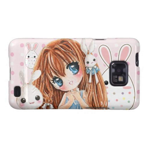 Cute chibi girl with kawaii bunnies samsung galaxy cover
