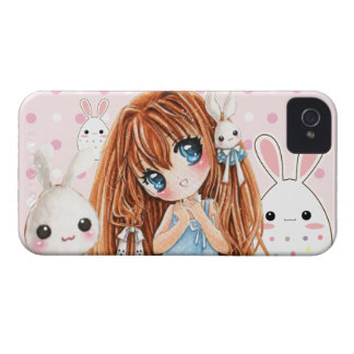 Cute chibi girl with kawaii bunnies iPhone 4 Case-Mate cases
