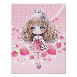 Cute chibi girl with kawaii strawberries poster