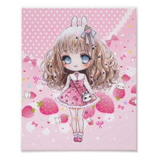Cute chibi girl with kawaii strawberries poster