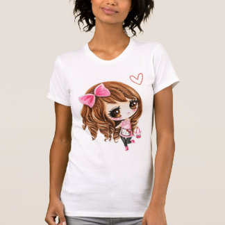 Cute chibi girl with pink big bow - kawaii T-shirt