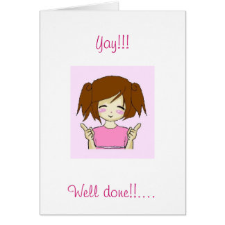 Cute chibi well done congratulations card kawaii
