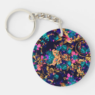 Cute chic abstract flowers background keychain