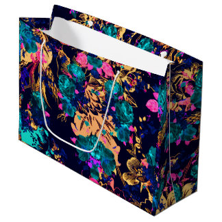 Cute chic abstract flowers background large gift bag