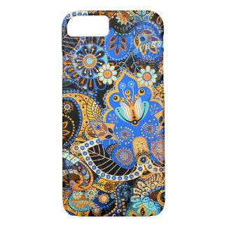 Cute Chic Blue Orange Retro Paisley Floral Pattern iPhone 8/7 Case