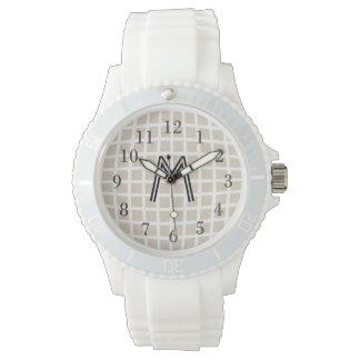 Cute Chic Custom Checked Monogrammed Watch