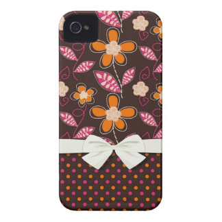 cute chic doodle flowers and polka dots iPhone 4 cases