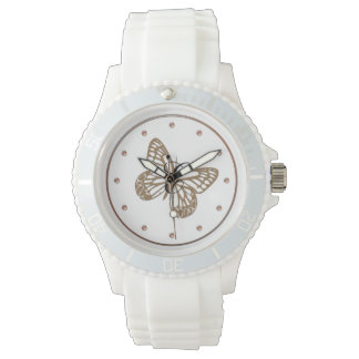 Cute Chic Gold Butterfly Monogrammed Watch