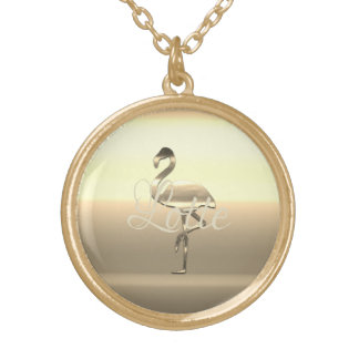 Cute Chic Gold Flamingo Add Name Necklace
