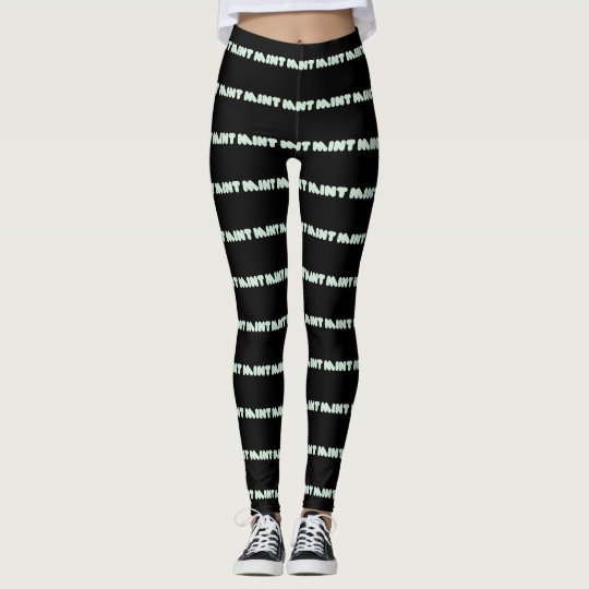 Cute Chic Mint Typography Pattern Leggings