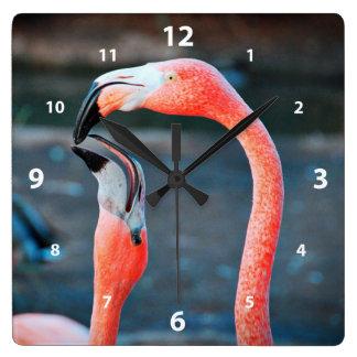 Cute, chic orange pink flamingo best friends photo square wall clock