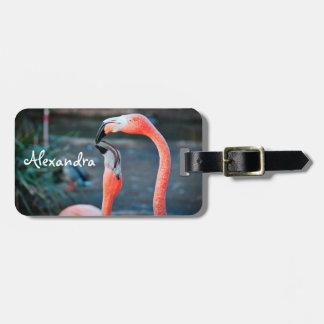 Cute, chic orange pink flamingos photo custom name luggage tag