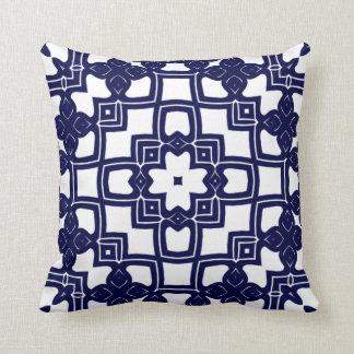 Cute Chic Pretty Dutch Delfts Blue Squares Pattern Throw Pillow