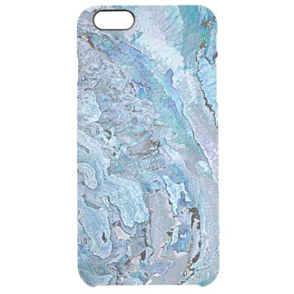 Cute Chic Purple Blue Faux Abalone Shell Pattern Clear iPhone 6 Plus Case
