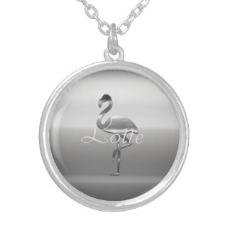 Cute Chic Silver Flamingo Add Name Necklace