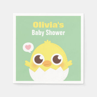 Cute Chick About to Hatch Baby Shower Napkins Paper Napkins
