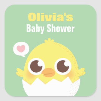 Cute Chick About to Hatch Baby Shower Stickers