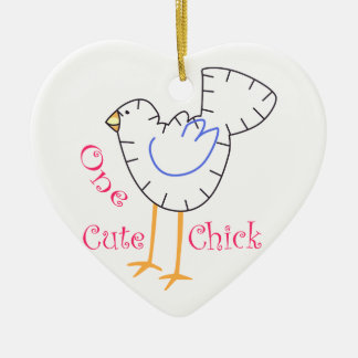Cute Chick Applique Ceramic Ornament