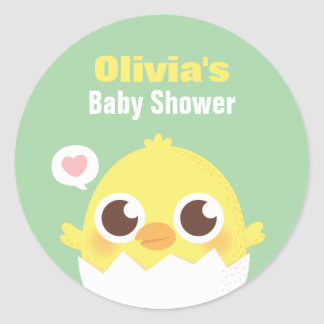 Cute Chick in Egg Baby Shower Decoration Stickers