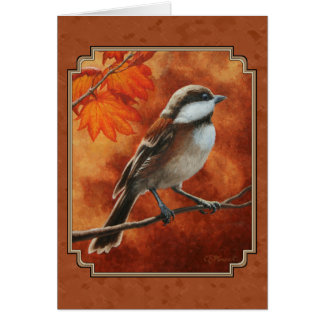 Cute Chickadee and Fall Colors Card