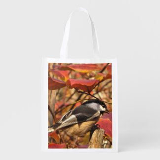 Cute Chickadee Bird in Pink Autumn Leaves Market Tote