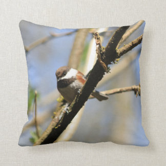 Cute Chickadee Bird Throw Pillow
