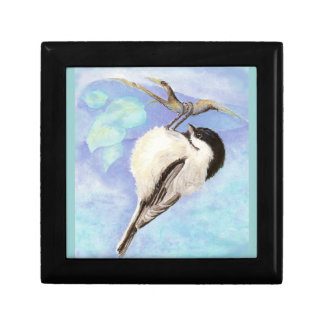 Cute Chickadee Watercolor Bird Hanging upsidedown Trinket Boxes